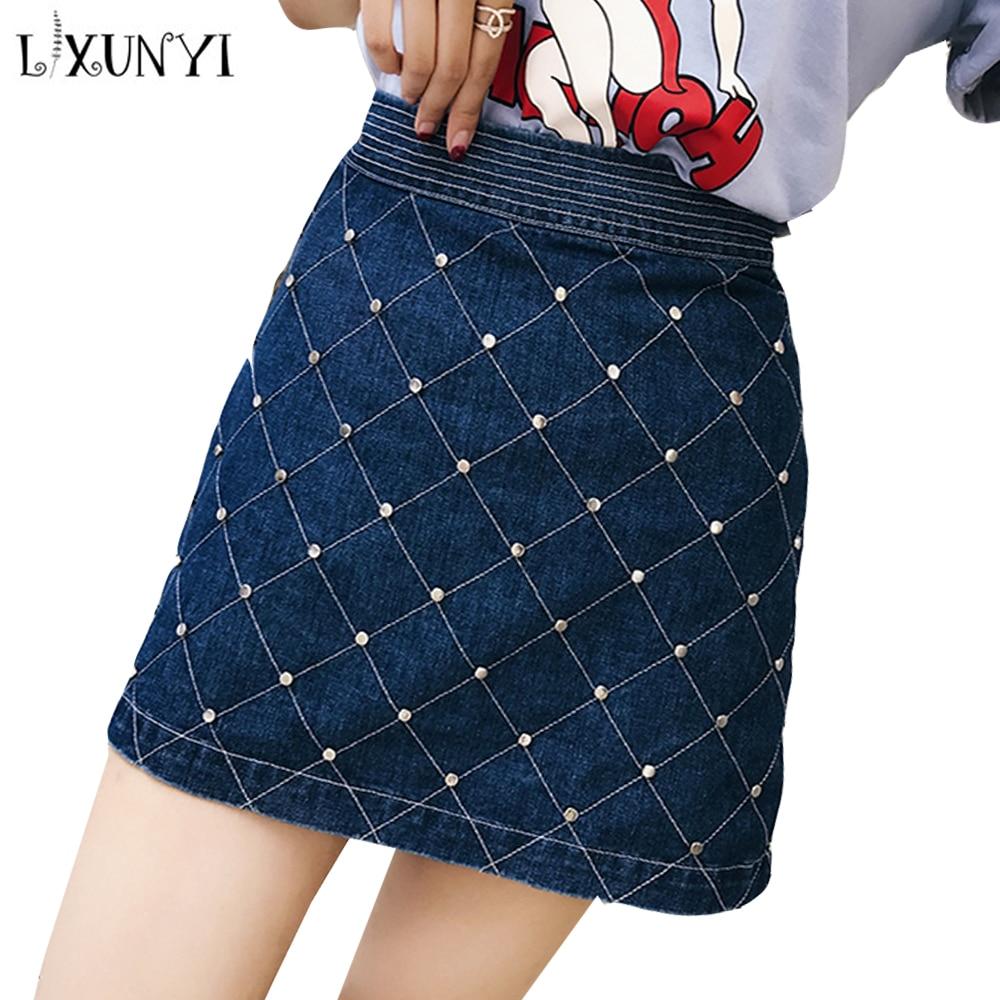 LXUNYI New Diamond Beaded Skirt Summer Women 2019 High Waist Skirt Short Mini Zipper High Street Female Skirts Ladies Blue XS-L