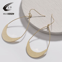 Minimalist teardrop gold silver brass wire drop earrings female jewelry dangle 2018
