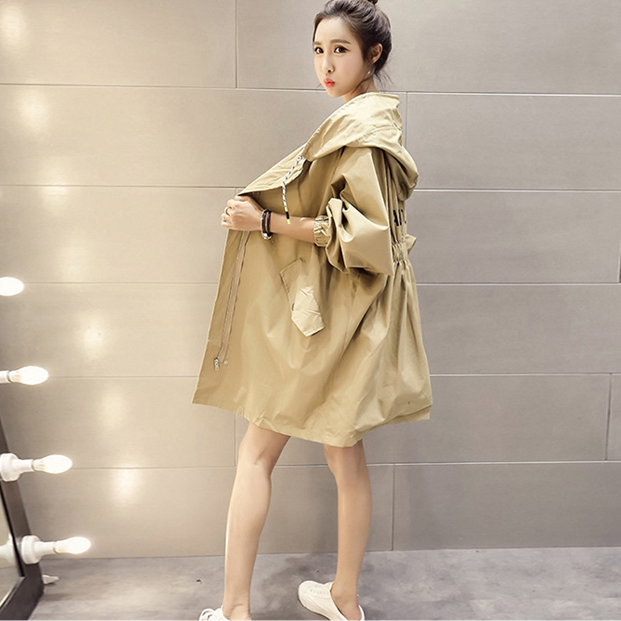 Womens Long   Trench   Coat Solid Color Hooded Loose Zipper Large Size Bat Style Women   Trench   Coats Fashion Casual New Style 2018