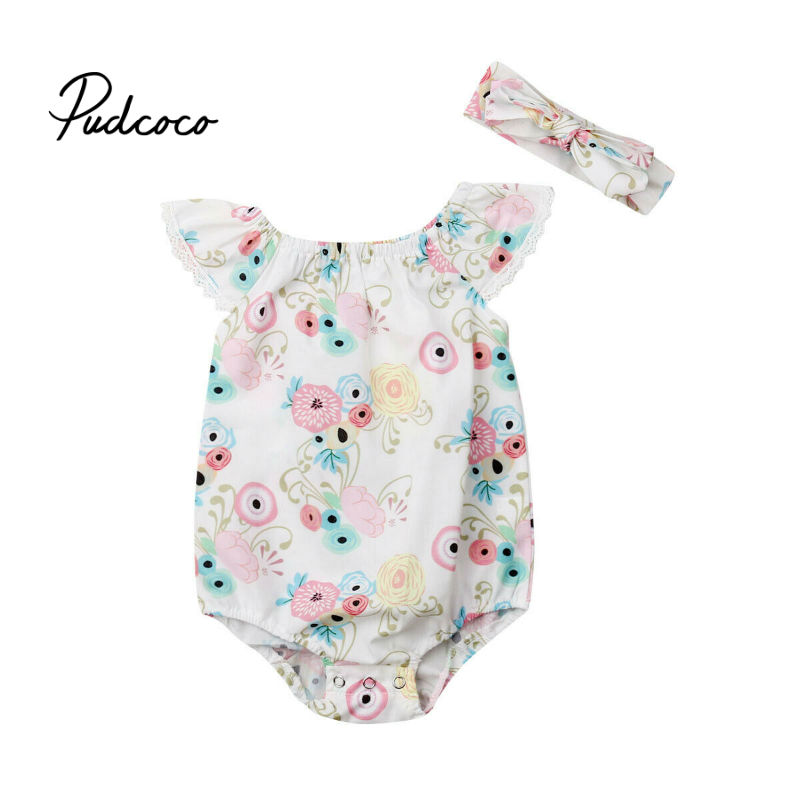 2019 Cute Floral Rmper 2pcs Baby Girls Clothes Jumpsuit   Romper  +Headband 0-24M Age Ifant Toddler Newborn Outfits Set Hot Sale