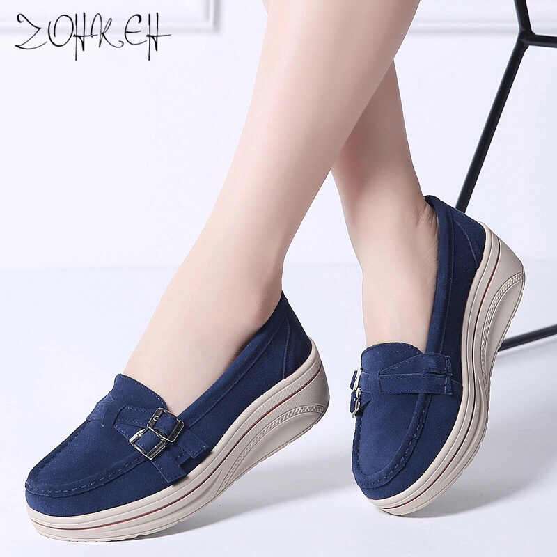 2019 Spring Women Flats Shoes Platform Sneakers Shoes   Leather     Suede   Casual Shoes Slip On Flats Heels Creepers Moccasins Zapatos