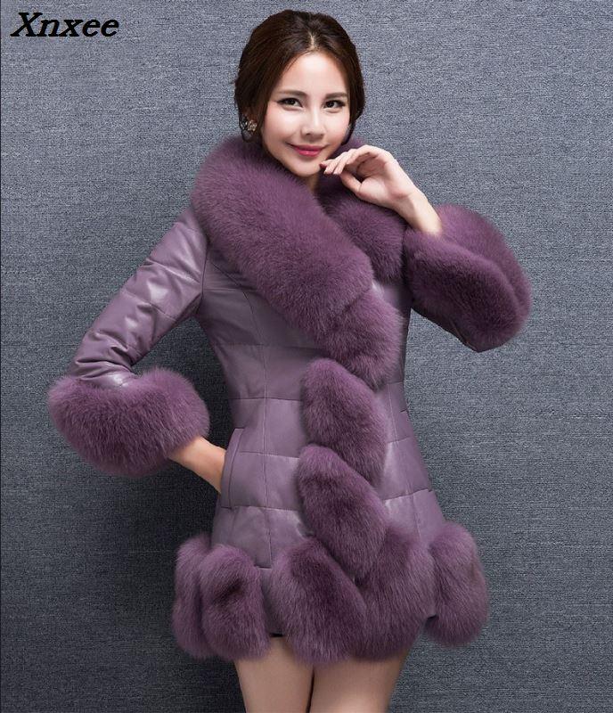 2018 hiver offre spéciale pourpre PU couture fausse fourrure manteaux femmes Faux col de renard Long en cuir veste noir Slim survêtement Mex