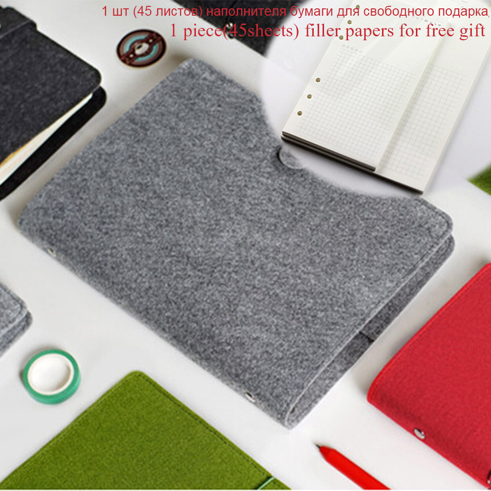 A5A6 Creative Binder Felt Planner Shell Diario Notebook Spiral Cover Office School Organizer Accessory Cover Free Filler Papers a5b5 silver coil pp frosted cover notebook office school papelaria multifunctional organizer diario elastic binder planner