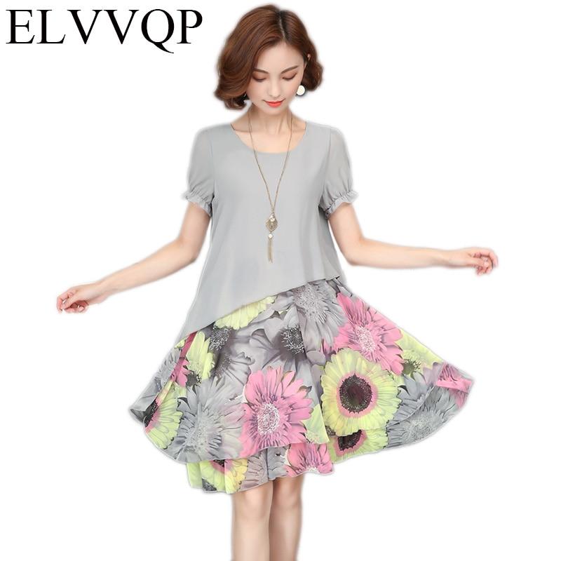2018 New Womens Stitching Casual Dress Elegant Printed Round Neck Chiffon A Word Line Vestidos Womens Plus Size Dress LF340