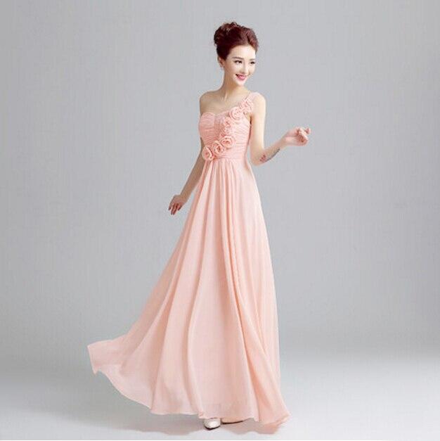 Pálido rosa largo de gasa de novia formal de un hombro una línea de ...