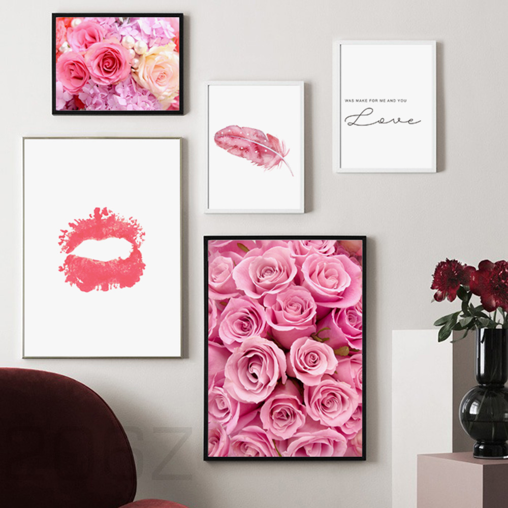 Pink Rose Flower Feather Love Quotes Nordic Posters And Prints Wall Art Canvas Painting Pictures For Living Room Home Decor