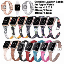 Classic Buckle Band for Apple Watch Series 4 3 2 1 40mm 44mm 38mm 42mm Strap for Iwatch Calf Leather Flower Print Watchband