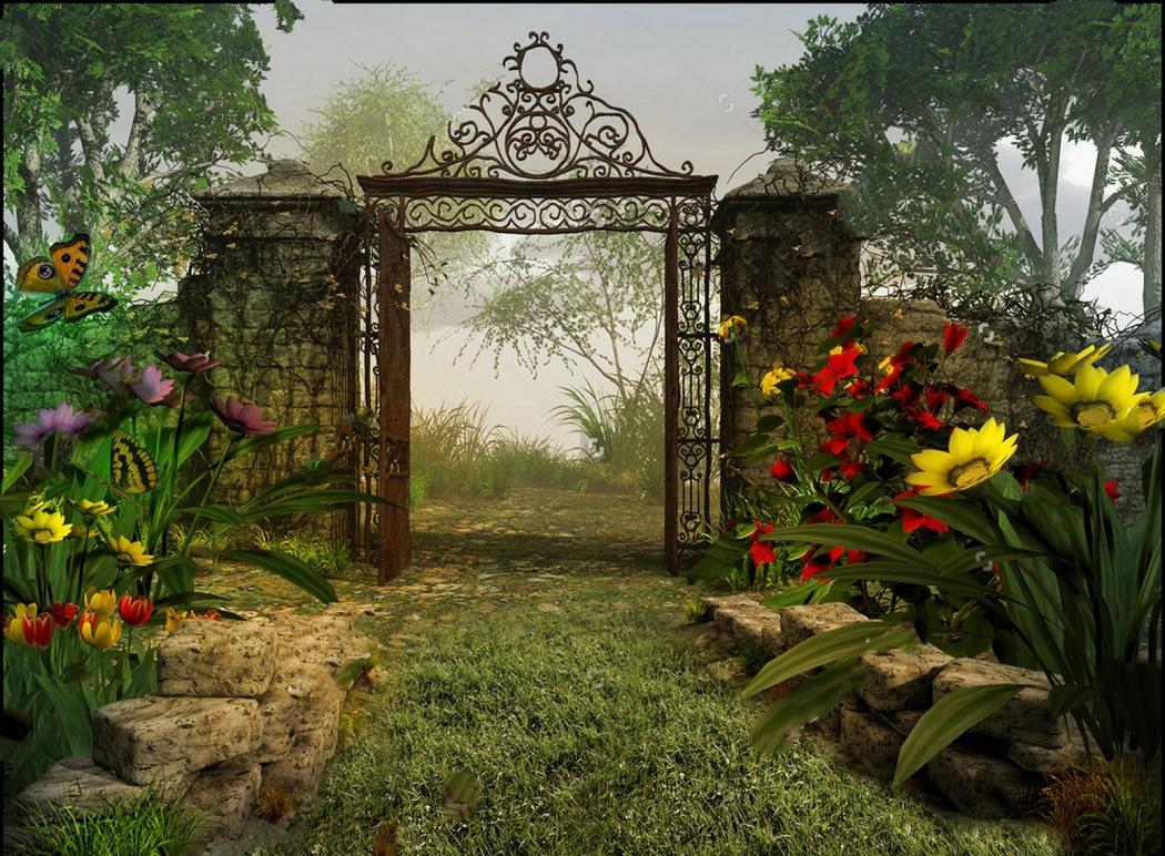 Garden Gate Magic Garden Flower Spring Fairy background Vinyl cloth ...