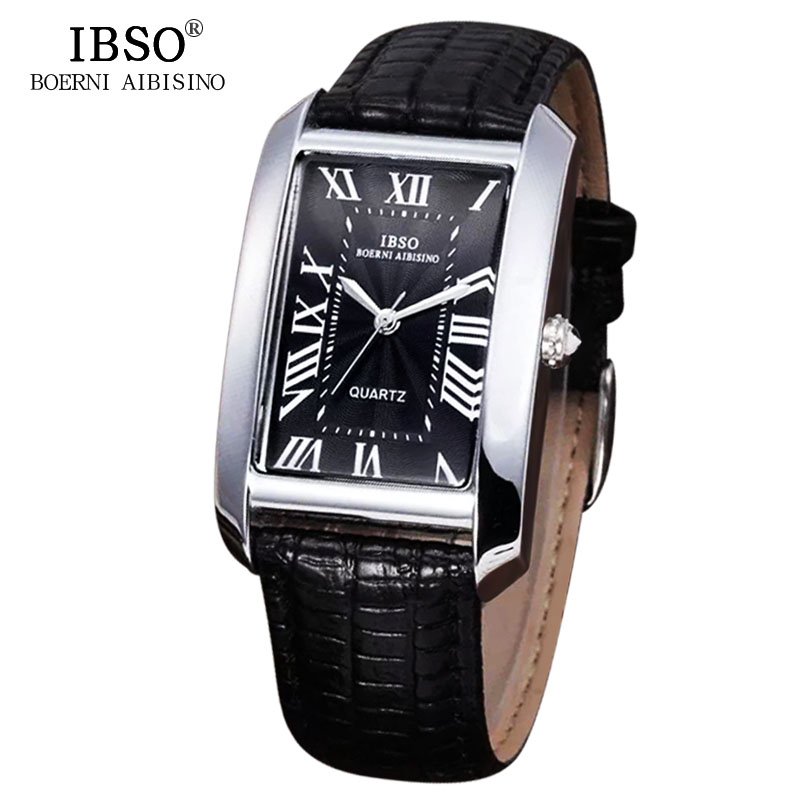 IBSO Rectangle Women Watches Genuine Leather Strap Brand 2018 Top Fashion Classic Style Black Quartz Watch Women Montre Femme ibso top brand fashion red watch women genuine leather band women watches 2017 analog quartz wristwatch waterproof montre femme