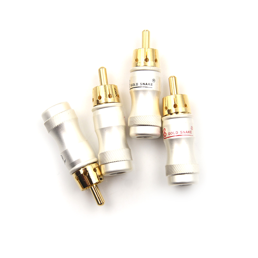 4pcs/lot Male Audio Video Connector Gold Adapter For Cable DIY Gold Snake RCA Plug HIFI Goldplated Audio Cable RCA