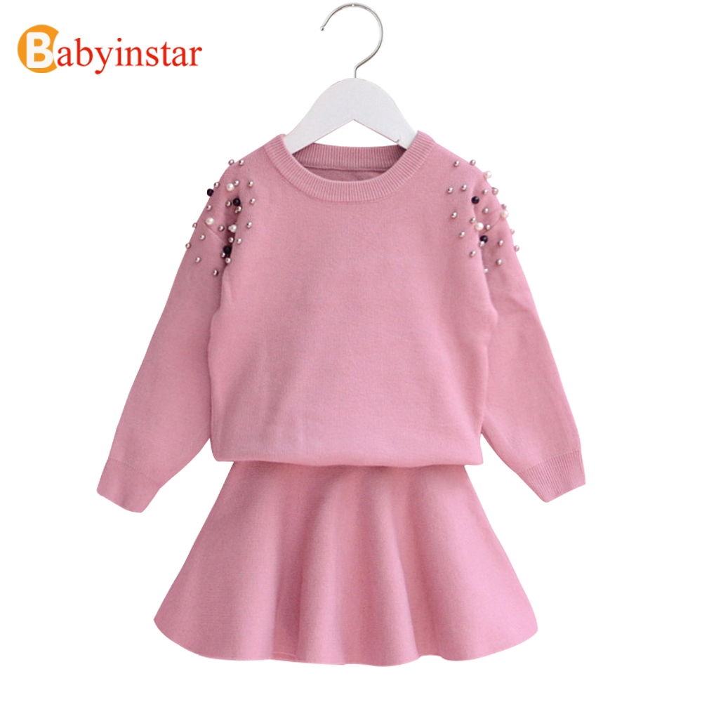 Babyinstar 2018 Spring kids clothing sets girl 2 Pcs sets sweater tops+skirt suits children clothes set suits girls tracksuits 2018 girl summer sets new children s skirt 2pcs college chiffon clothing set white half sleeve blouse black long skirts suits