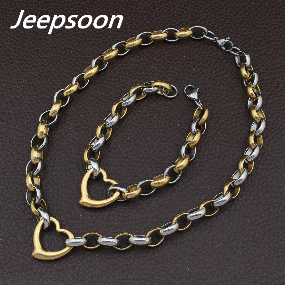 Wholesale Stainless Steel Vintage Jewelry Love Silver And Gold Color Bracelet Necklace Sets For Woman SGEAAZCF