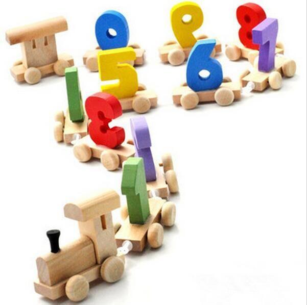Cheap Educational Toys : Free shipping wood train digital kid baby educational toys