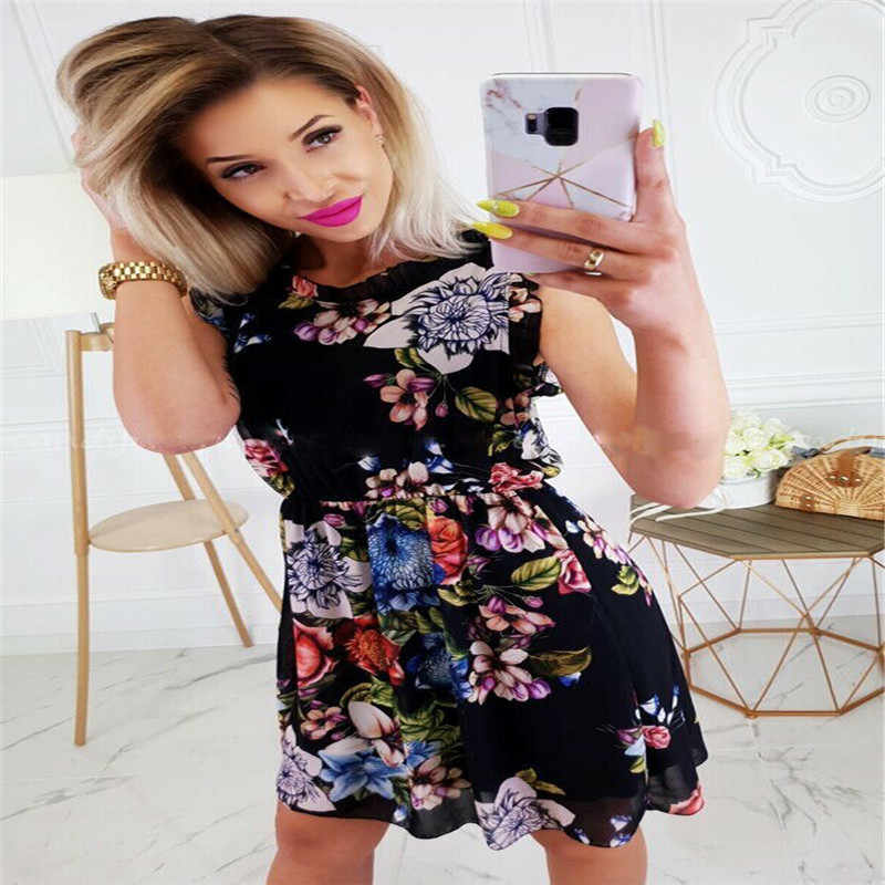 Hotkey Womens Summer Leopard Printed Sleeveless Tank Mini Dresses Casual Cocktail Party Swing Dress Boho Beach Sundress