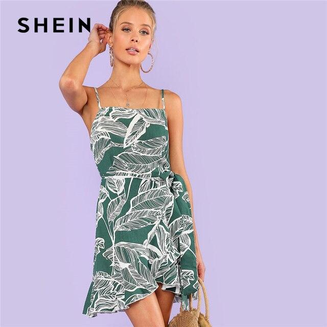 SHEIN Ruffle Knot Side Palm Print Cami Dress Women Spaghetti Strap  Sleeveless Tropical Short Dress 2018 Summer Vacation Dress 6406707fb0