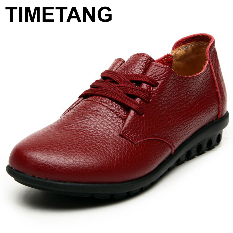 TIMETANG Leather lace flat women's shoes ladies leisure comfortable soft leather shoes Spring and autumn new mothers work C206