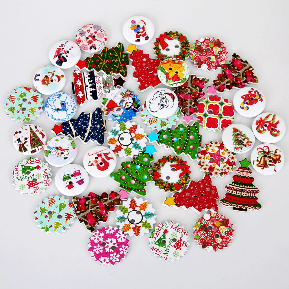 50pcs Chinese Zodiac Wooden Buttons Animal Sewing Scrapbooking Random mixing