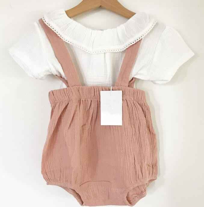 summer ins hot toddler baby girl linen   romper