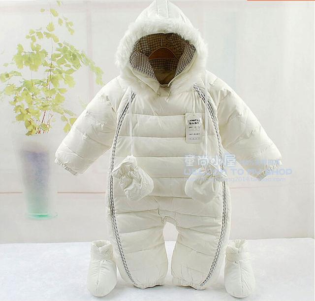 Rusia Invierno bebé grils muchachos abajo mamelucos gruesos niños alagodón cabritos de la chaqueta de algodón acolchado de piel de lana mono monos recién nacidos