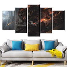 цена 5 Panel LOL League of Legends Yasuo Game Canvas Printed Painting For Living Wall Art Home Decor HD Picture Artwork Modern Poster онлайн в 2017 году