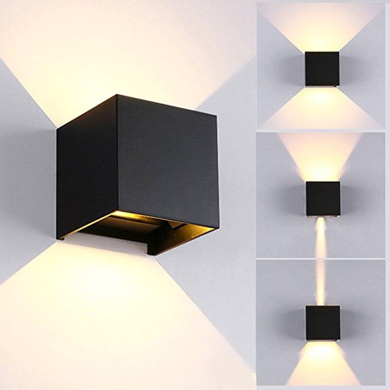 Moderne Kurze Cube Einstellbare Oberfläche Montiert 6 Watt Led Wand Lampen Indoor Outdoor Wasserdichte Ip65 Aluminium Wand Lichter Garten Lichter