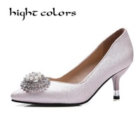 New 2018 Spring Autumn Women Pumps Elegant Rhinestone Flower High Heels Shoes Sexy Thin Pointed Single