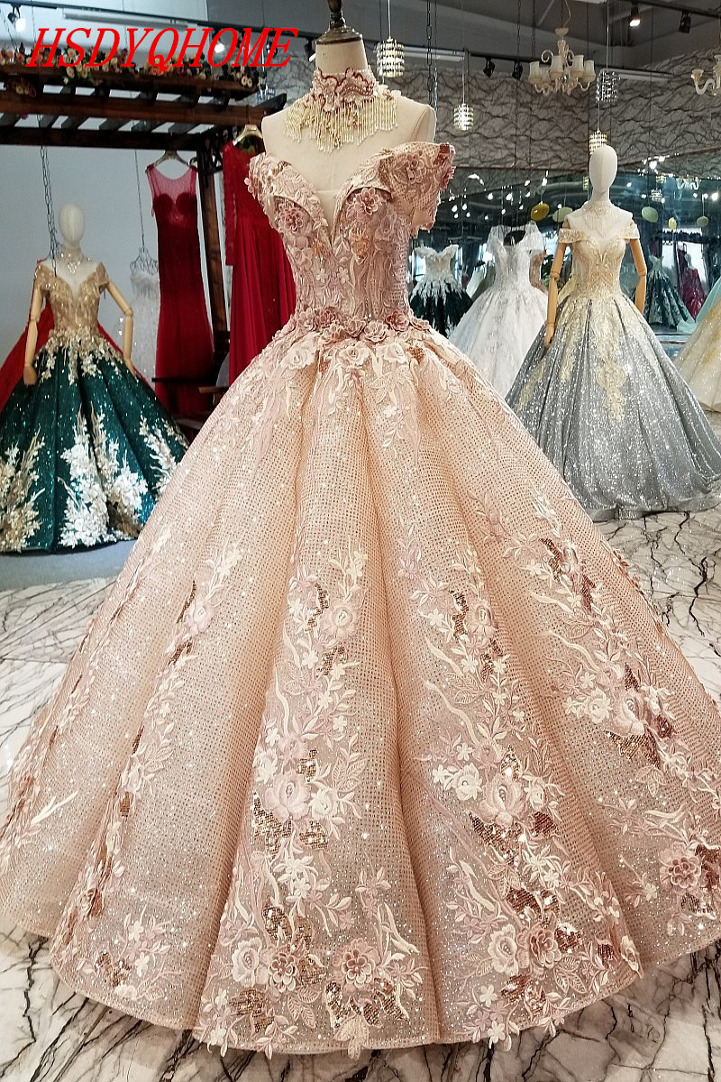 HSDYQHOME 3D Flower Amazing   Evening     dresses   Pearls Appliques Beading   Evening   party   Dresses   2018 Luxury Vestidos Prom gown