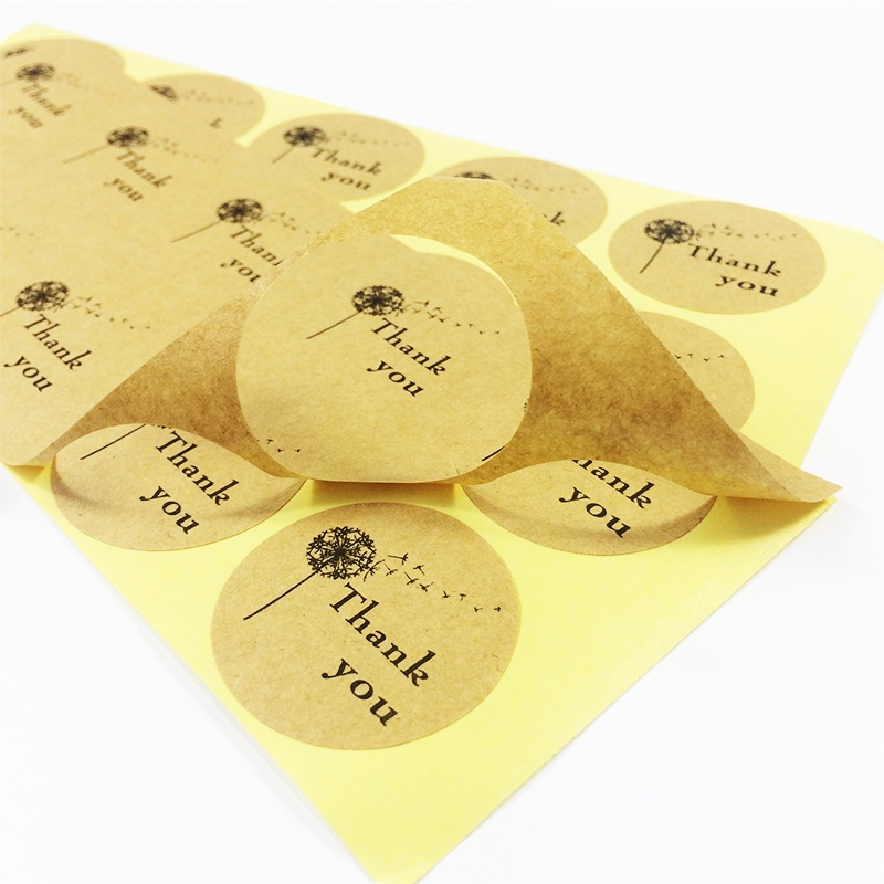 1000 Pcs lot Thank You Sticker Dandelion Kraft Label Sticker DIY Gift Cake Baking Sealing Scrapbooking Labels For Thanksgiving in Stationery Stickers from Office School Supplies