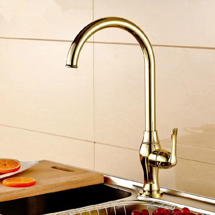 Contemporary Single Cold Kitchen Faucet Tap Gold Electroplating Swivel Bathroom Basin Sink Water Tap Free