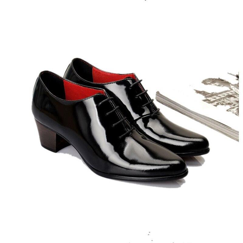 Мужские туфли из лакированной кожи на шнуровке, визуально увеличивающие рост; дизайнерские туфли с острым носком на высоком каблуке; повседневные туфли оксфорды, увеличивающие рост - 2