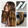 Полный Блеск Клей в Наращивание Волос Цвет #2 Темно-Коричневый Исчезает на Золотистый Блондин Bronde Бесшовные Ленты в Ombre Наращивание Волос 50 г
