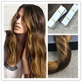 Full Shine Glue in Hair Extensions Color #2 Dark Brown Fading to Golden Blonde Bronde Seamless Tape in Ombre Hair Extensions 50g