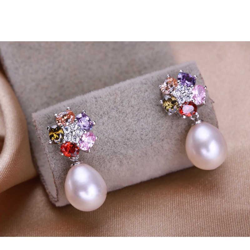 FENASY verdadeira pérola flor conjunto de jóias para as mulheres colar brincos de pérola anel de prata esterlina 925 conjuntos de jóias de cristal Colorido