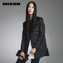 Высокое качество misun 2016 осенью и зимой на средние и длинные ПУ лоскутное тонкий пуховик женский рубашка мода стиль
