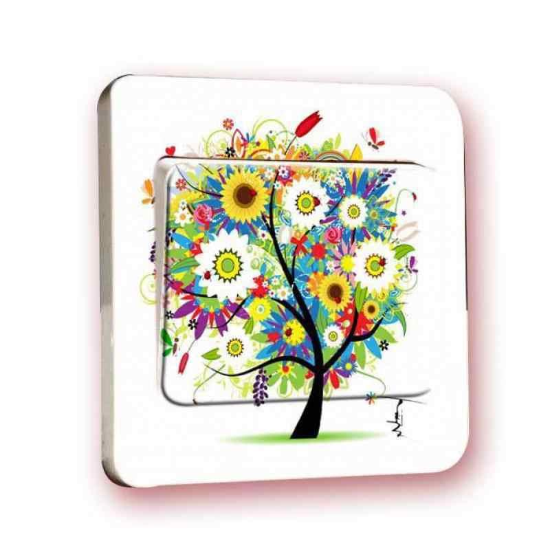 2 шт цветные дерево огни ПВХ наклейки на выключатель розетка наклейки водонепроницаемые Креативные украшения детская спальня гостиная декорат