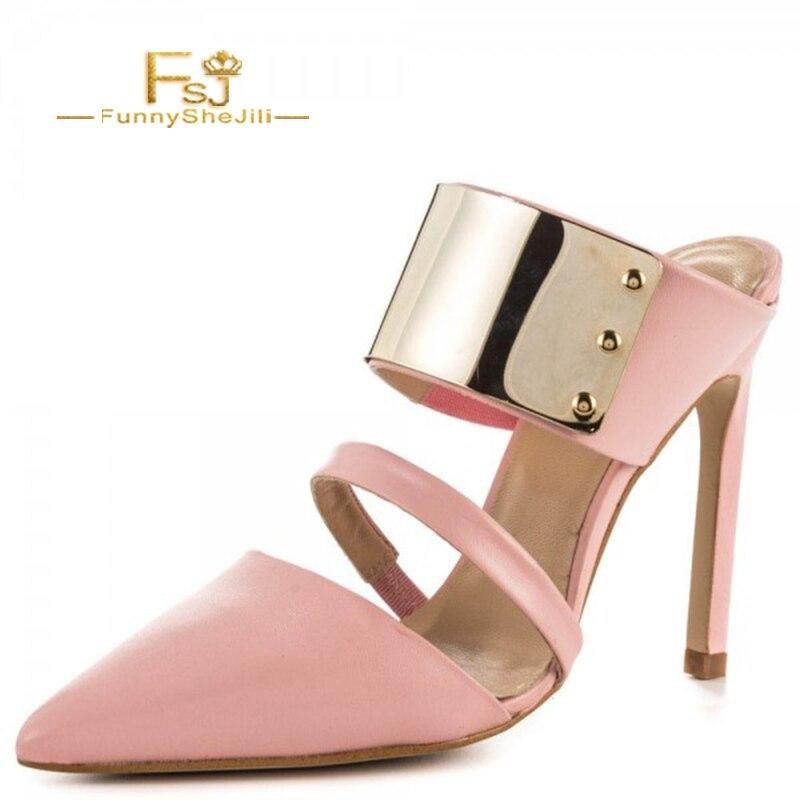 Fsj01 Mules L'extérieur Talons Chaussures Femme Métal Embellishement Sandales Taille Mujer Avec À Mule 14 Fsj Orteils Pantoufles Fermé Grande Rose CEwxH0FYqx
