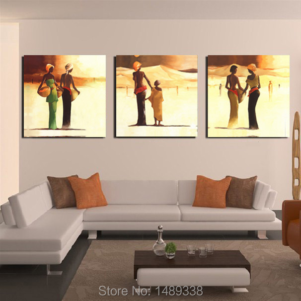 Free Shipping 3 Panel living room modern Canvas Prints Africa characters Oil Painting Picture Printed On Canvas with framed