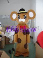 Brown mouse with hat adult cartoon mascot costume free shipping