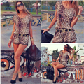 FS Hot 2016 Verão Mulheres Sexy Mini Leopard Shorts Playsuits Jumpsuit Romper S-XL