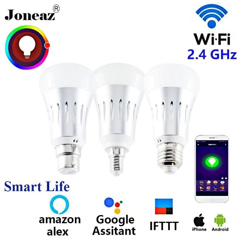 Alexa vida inteligente Assistente Google inteligente levou Bulbo E27 B22 E14 Joneaz ampola wi-fi bombillas lâmpada regulável para casa inteligente