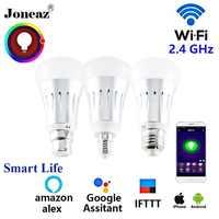 Inteligentne życie alexa asystent Google inteligentna dioda LED E27 B22 E14 ampułki lampy wifi bombillas inteligentny ściemniania dla domu Joneaz