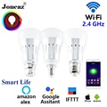 Smart leben alexa Google Assistent led intelligente Birne E27 B22 E14 ampulle wifi lampe bombillas inteligente dimmbare für home Joneaz