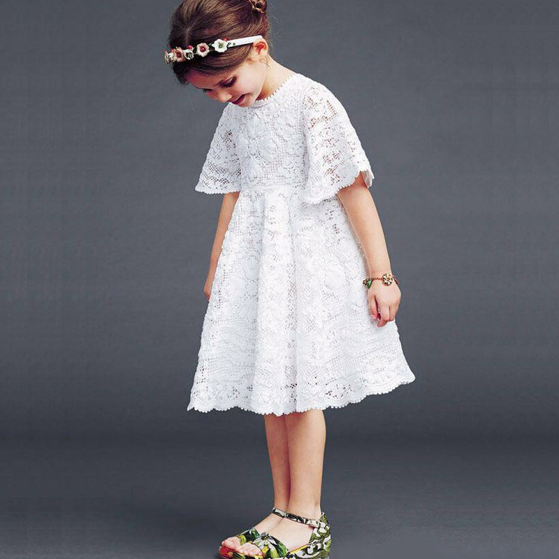 New 2018 Baby Girls Lace Dress Kids Summer White Dress Children Half Sleeve Dress Toddler Dress,2-7Y,#2061 2017 new summer toddler kids girls sleeveless t shirt dress children girls elegant lace dresses light blue dress for 3 7y