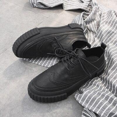 A Estilo Moda Zapatos Punky Hombres Los Casuales Gruesa Bajos Ayudar Bullock 2018 Marea Black Suela La De Para 1q1dpP