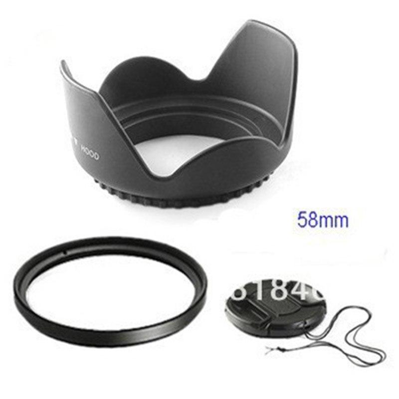58mm 58mm flor Lens Hood + filtro UV + tapa de lente para Canon EOS 400D 550D 500D 600D 1100D Nikon AI lente de 58mm DS DSLR