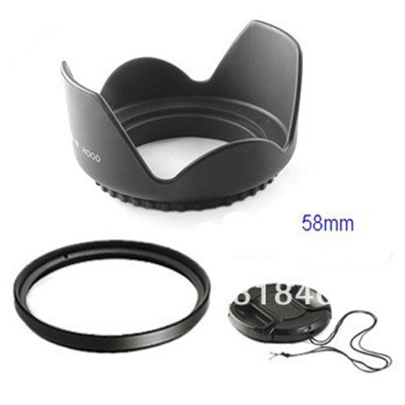 58mm <font><b>58</b></font> mm Flower Lens Hood +UV Filter +Lens Cap for Canon EOS 400D 550D 500D 600D 1100D Nikon AI 58mm lens DS DSLR image