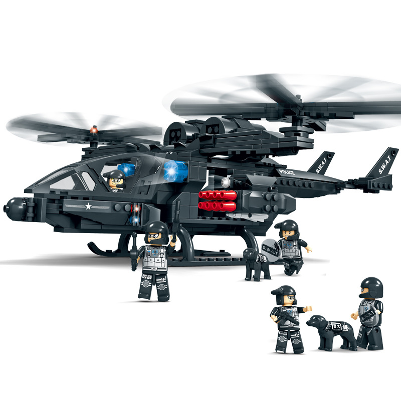 Blocks Model Building City Police 2 In 1 Military Helicopter Airplane Building Block Swat Special Forces Fighter Figures Compatible Legoings Army Toys
