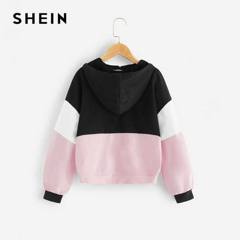 2a968114a9 ... SHEIN Kiddie Half Placket Zipper Colorblock Hoodie Sweatshirts For  Girls Tops 2019 Active Wear Long Sleeve ...