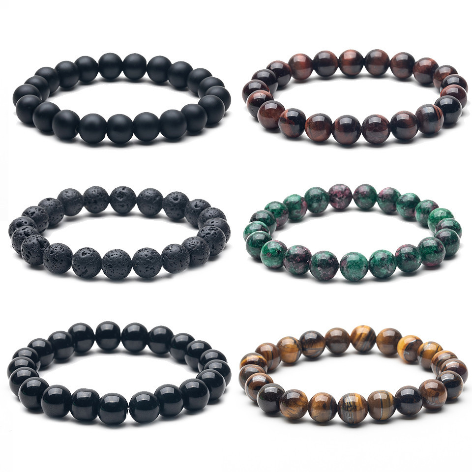 Natural Stone 10mm Beads Bracelets High Quality Tiger Eye Buddha Lava Round Beads Elasticity Rope Bracelets for men Fashion New in Strand Bracelets from Jewelry Accessories