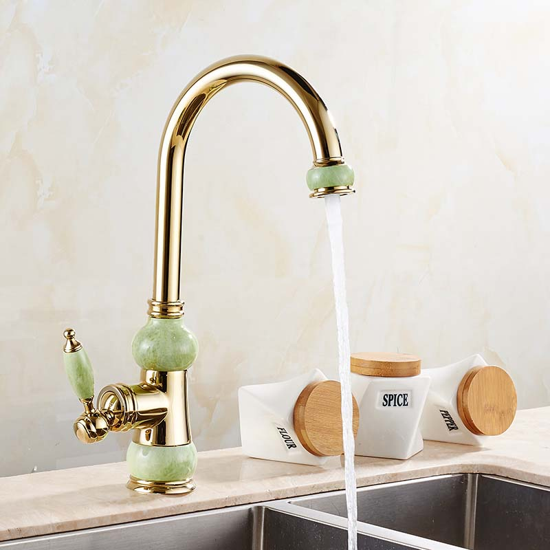 Jade Style Golden Color Kitchen Sink Faucet Single Handle Mixer Tap Hot and Cold Water emilio pucci кружевной жакет